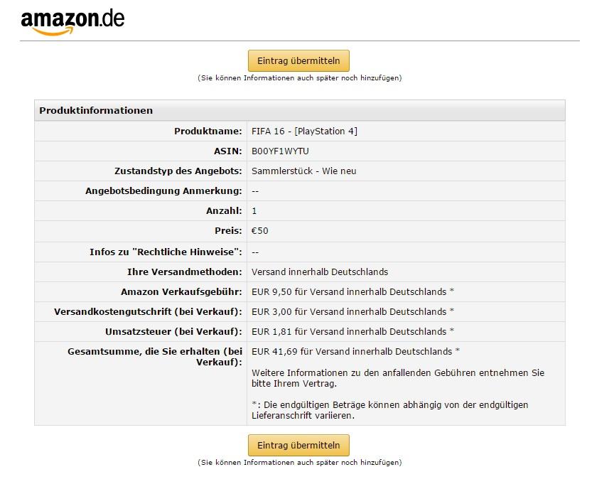 Gebühren Amazon Verkauf Angebot