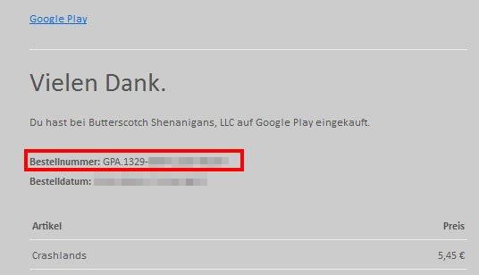 """Google-Bestätigung: Die Bestellnummer für Crashlands beginnt mit """"GPA"""" und einem Zahlencode, der durch Bindestriche getrennt ist."""