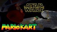 Mario Kart. Im Weltall. Star-Wars-Style. Mit X-Wing, TIE-Fighter und Todesstern.