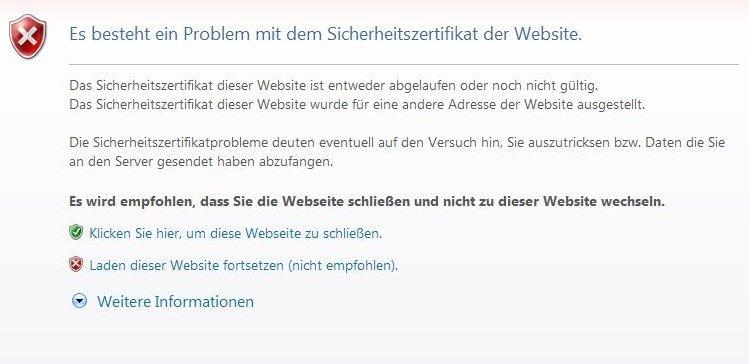 Es besteht ein Problem mit dem Sicherheitszertifikat der Website ...