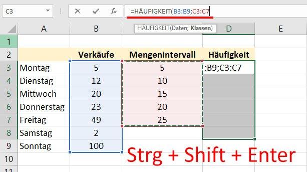 Die Ausgabezellen sind markiert, die Formel ist oben eingegeben. Nun noch Strg + Shift + Enter drücken.