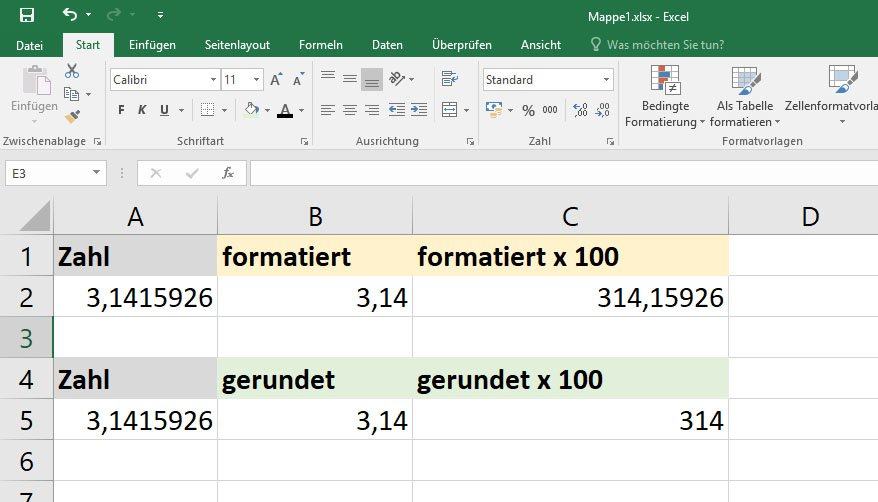 Unterschied: Bei Rechnungen mit gerundeten Zahlen, werden die ursprünglichen Nachkommastellen nicht mehr angezeigt.