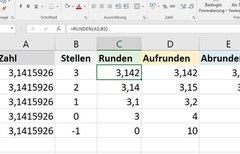 Excel: Runden, auf- & abrunden...