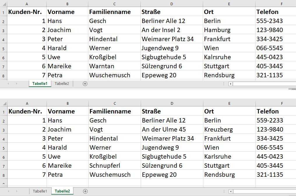 Excel Tabellen Vergleichen