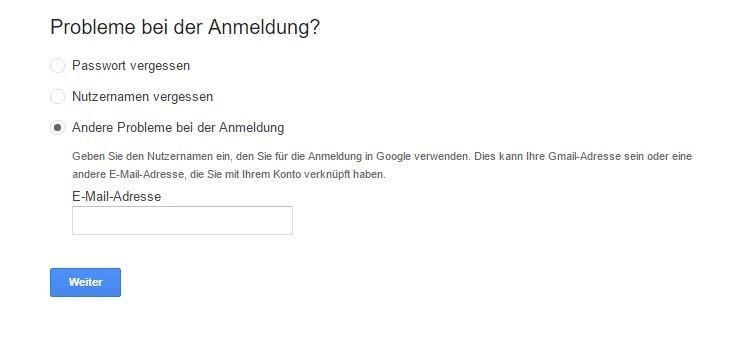 Google Konto Probleme
