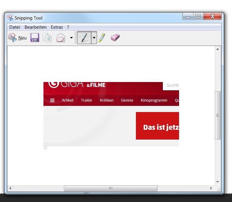 Das bereits mit Windows mitgelieferte Snipping Tool erlaubt das Erstellen Screenshots, die nicht den gesamten Bildschirminhalt, sondern nur einen Ausschnitt beinhalten.