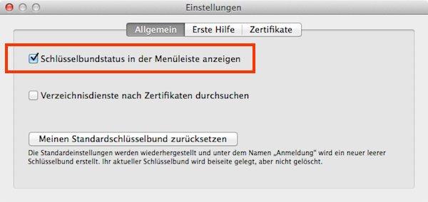 Mac OS X: Aktiviert die Option, um den Bildschirm über das Schloss-Symbol der Menüleiste sperren zu können.