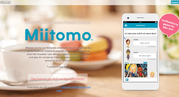 Miitomo: Homepage & Registrierungen der Nintendo-App gestartet