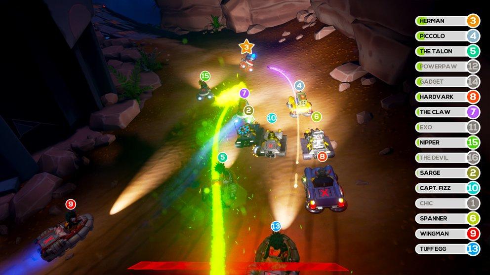 Obliteracers: Bei bis zu 16 Spielern auf einem Bildschirm ist Chaos vorprogrammiert.