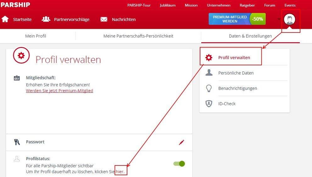 Visit X Profil Löschen