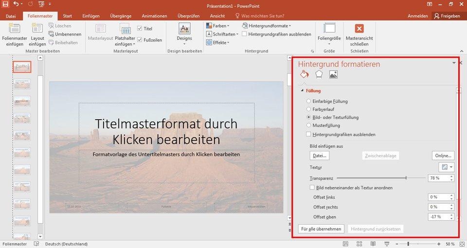In PowerPoint könnt ihr im Folienmaster ein Wasserzeichen als Hintergrund hinzufügen.