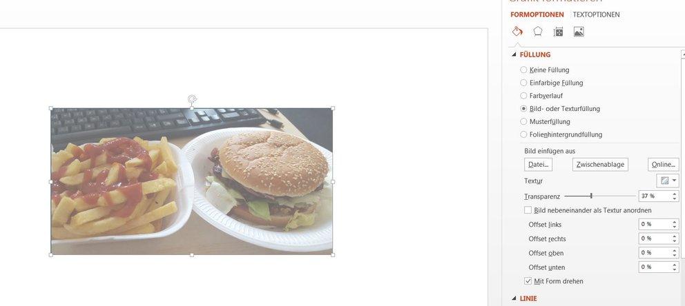 Die Sichtbarkeit unseres wunderschönen Burger-Bildes haben wir auf 37 Prozent eingestellt.