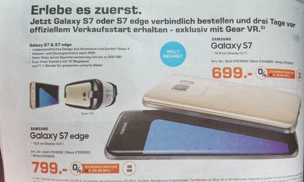Samsung Galaxy S7 und S7 edge: Saturn-Prospekt verrät deutsche Preise, GearVR-Beigabe [Update: Expert auch]