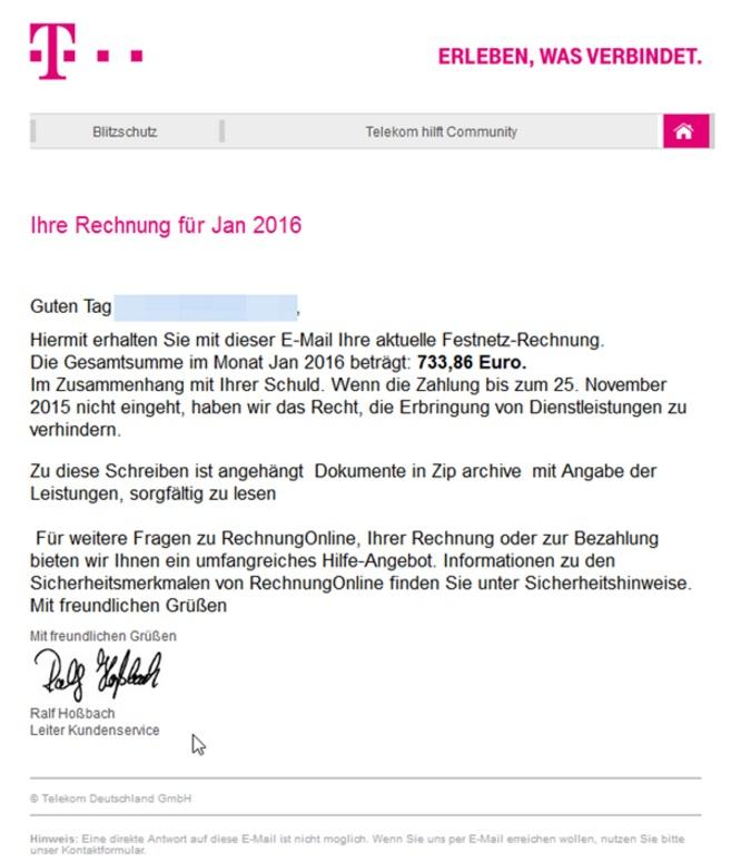 Ihre Telekom Festnetz Rechnung Januar 2016 Vorsicht Trojaner Giga