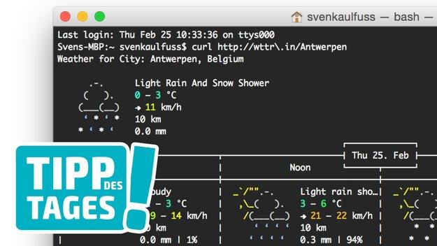 """Tipp fürs Terminal: Wettervorhersage in """"ASCII-Grafik"""" anzeigen"""