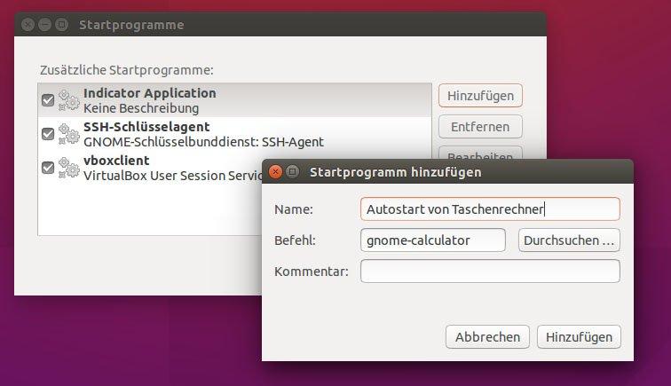 """Ubuntu: Das Programm """"Taschenrechner"""" soll bei jedem Systemstart automatisch ausgeführt werden."""