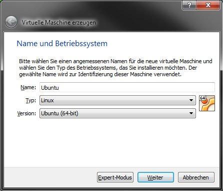 Virtualbox: Die Grundeinstellungen für die virtuelle Maschine Ubuntu sind fertig.