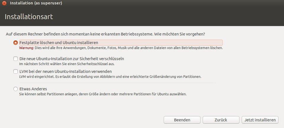 Ubuntu-Installation in Virtualbox: Wählt hier den ersten Punkt aus.