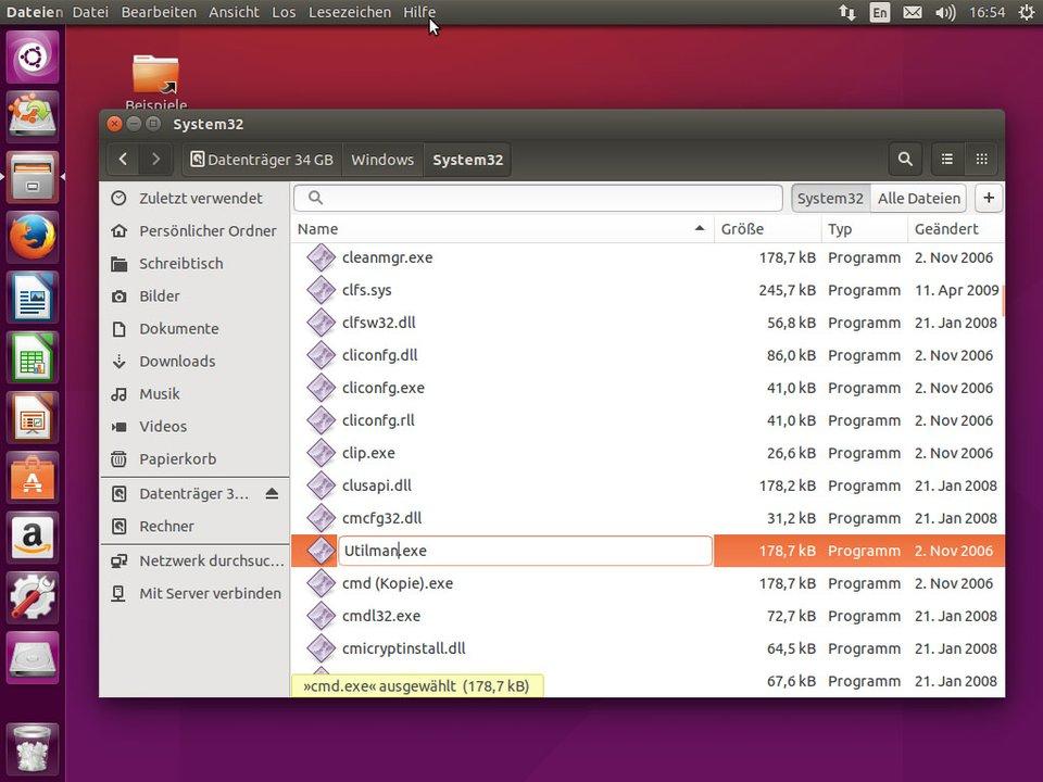"""Ubuntu: Die Datei """"cmd.exe"""" wird in """"Utilman.exe"""" umbenannt."""