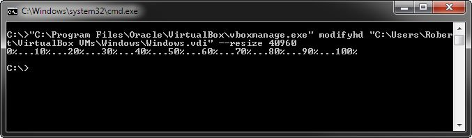 CMD: Der Befehl vergrößert bei uns die virtuelle Festplatte aus Virtualbox auf 40 GB.