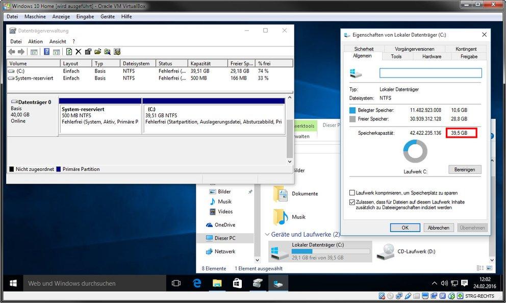 Virtuelle Maschine: Windows kann jetzt den neuen Speicher der vergrößerten Festplatte nutzen.