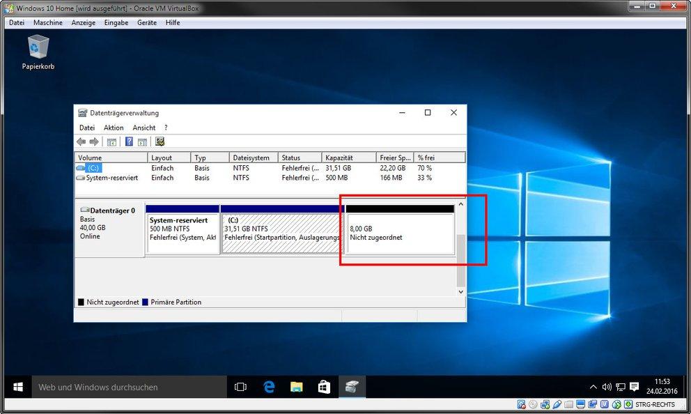 Virtualbox: Der nicht zugeordnete Speicher muss erst dem Laufwerk C zugerechnet werden.