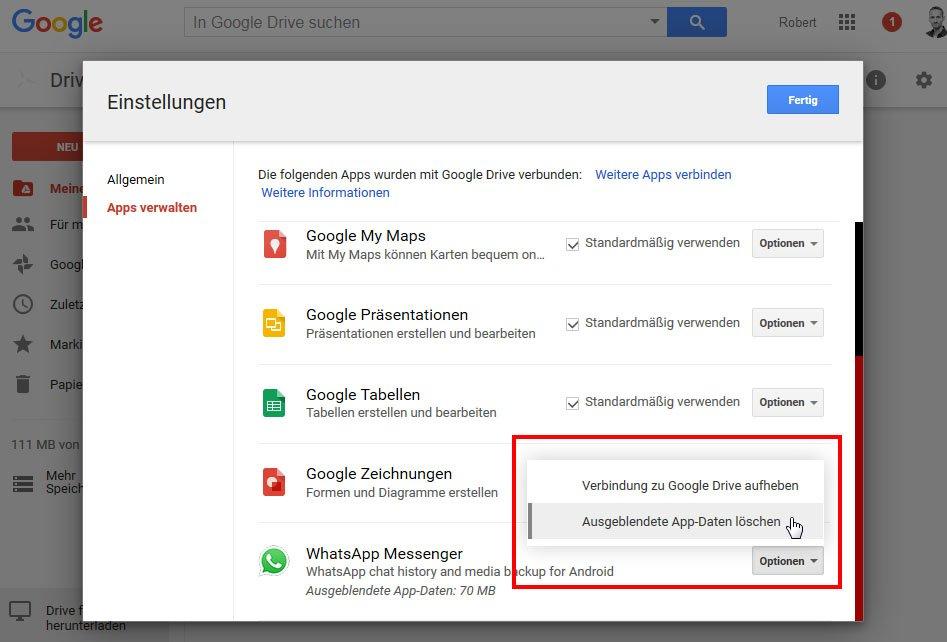 google apps löschen