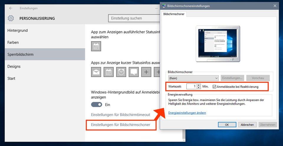 Windows 10: So lasst ihr den Bildschirm automatisch sperren.
