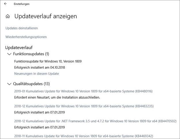 Windows 10: Update-Verlauf anzeigen – so geht's