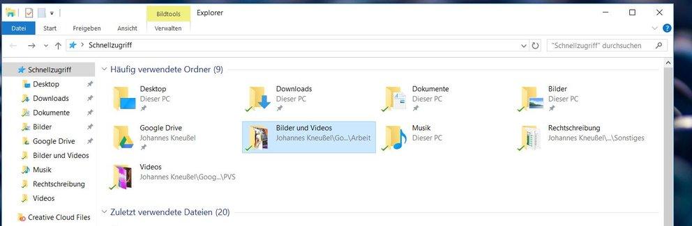Unter Windows 10 startet sich der Explorer zunächst mit der Ansicht der häufig verwendeten Ordner.