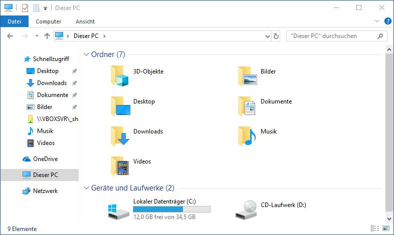 So sieht der Windows-Explorer in Windows 10 aus