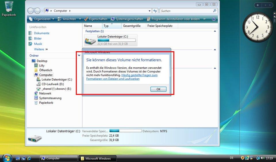 Windows Vista kann nicht die Festplatte formatieren, auf der es selbst ausgeführt wird.