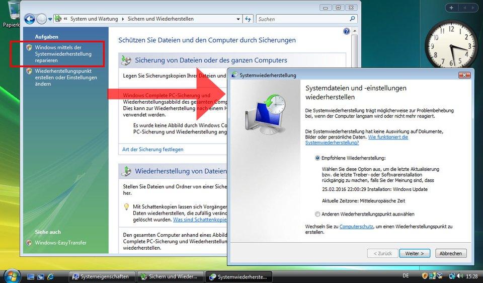 Windows Vista: Hier könnt ihr das Betriebssystem zurücksetzen.