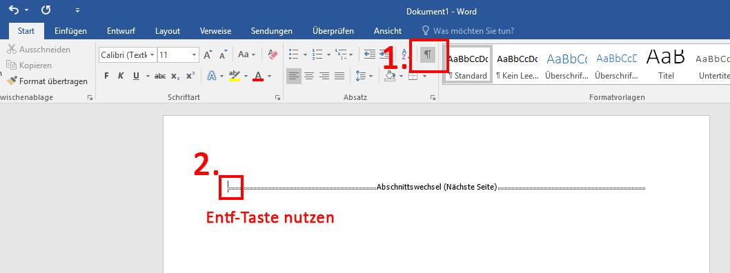 word 2010 abschnittswechsel