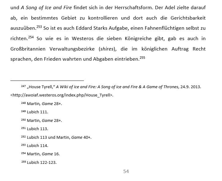 Ein Beispiel für Fußnoten in einem Word-Dokument. Die jeweiligen Textstellen werden mit einer Zahl markiert. - dem Verweißzeichen. Am Ende der Seite, unterhalb einer Trennlinie, findet sich dann die Erklärung in Form des Fußnotentextes.