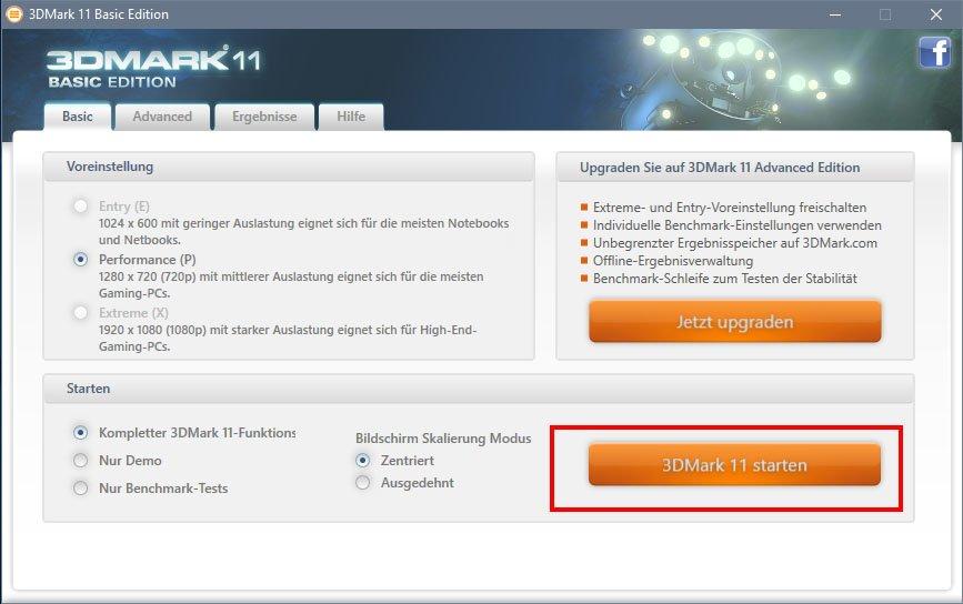 3DMark 11: Hier startet ihr den Benchmark.