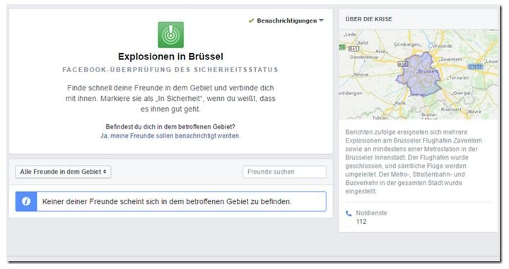 Facebook Safety Check Brüssel 2016