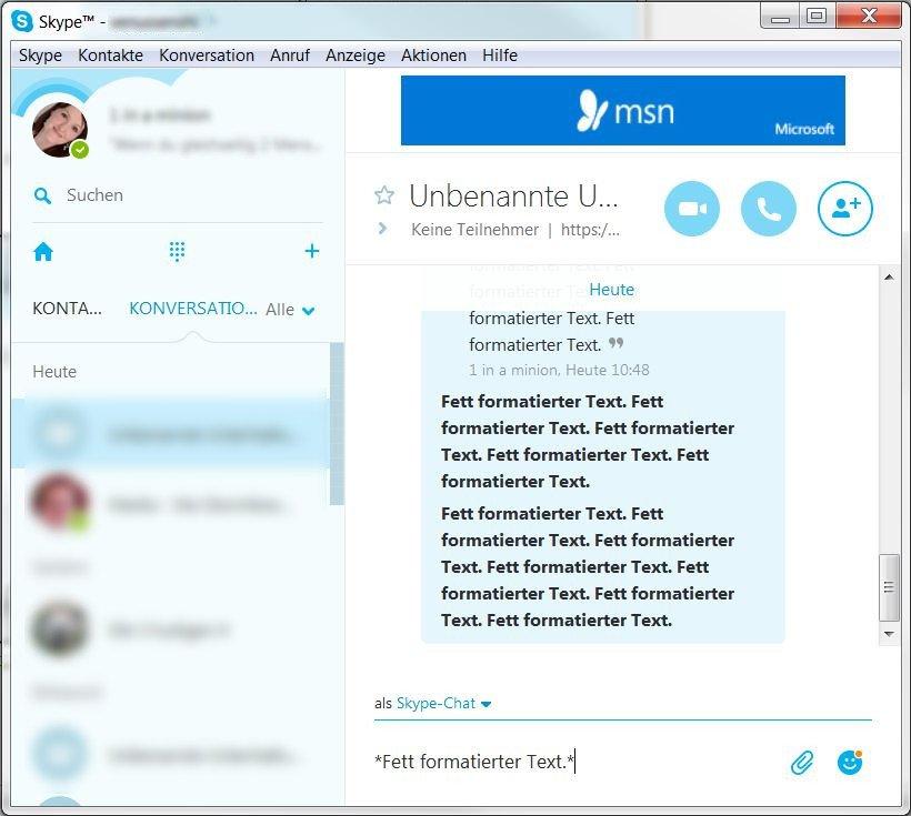Skype Text fett