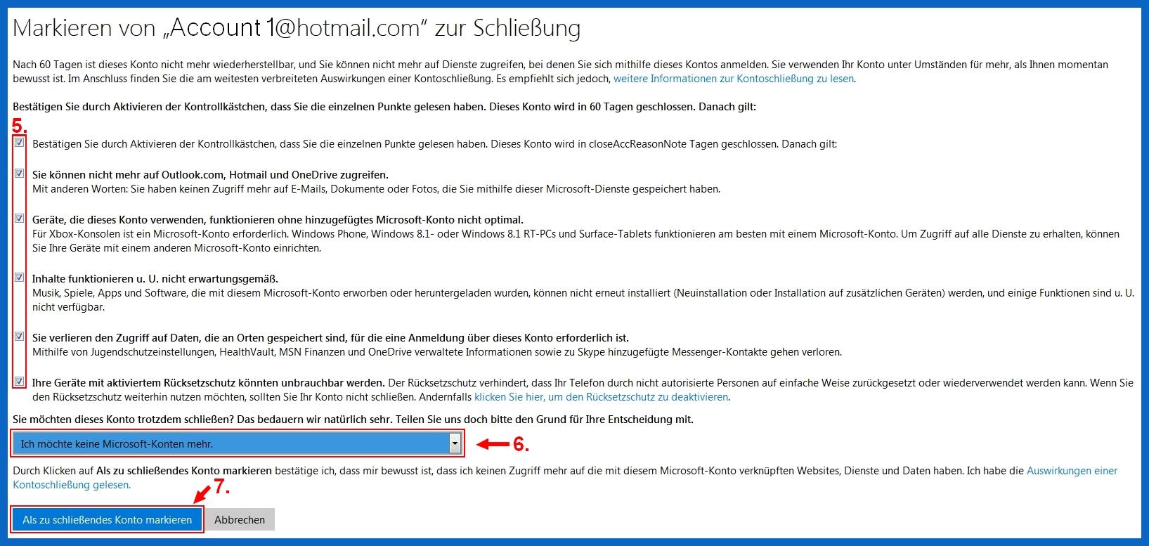 Xbox live account löschen