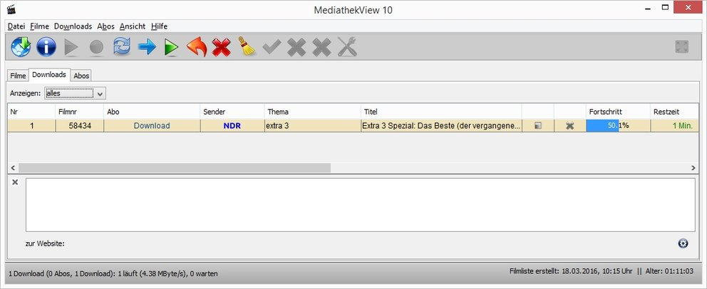 NDR Mediathek Download MediathekView Reiter Downloads