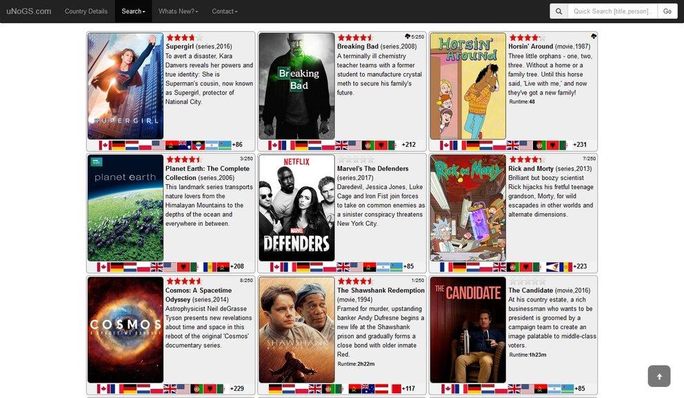 Netflix Programm Übersicht uNoGS