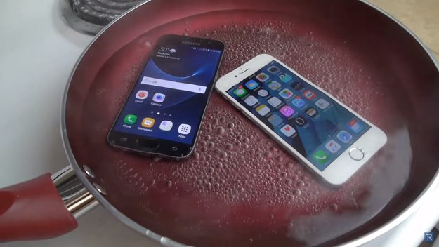 Samsung Galaxy S7 vs. iPhone 6s im Pfannen-Test