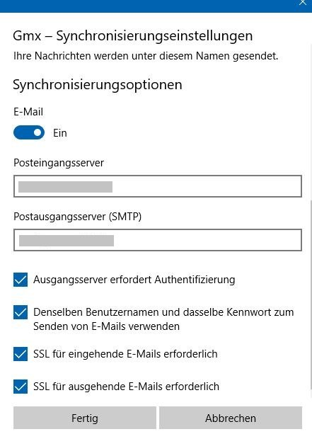 Windows 10 GMX IMAP