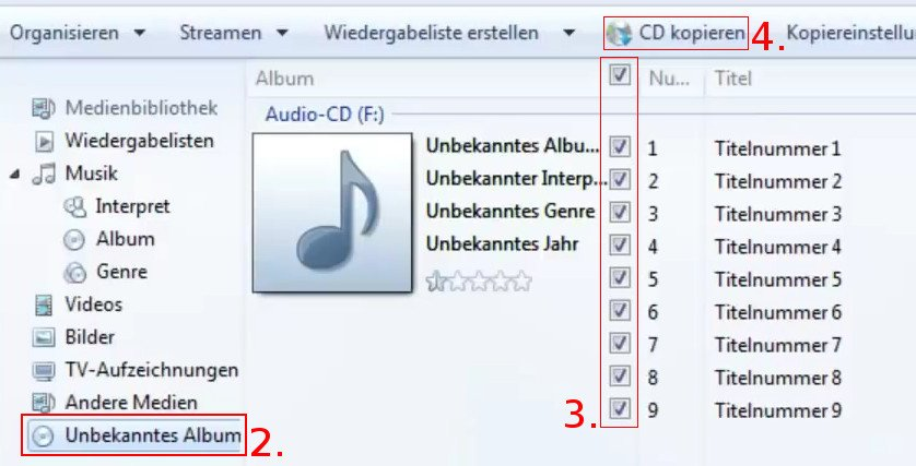 Windows Media Player CD kopieren