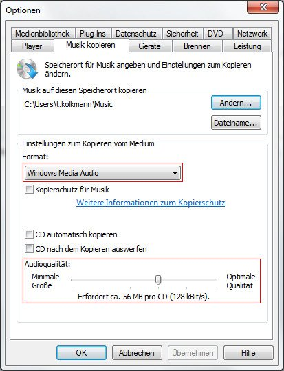 Windows Media Player Optionen Musik kopieren