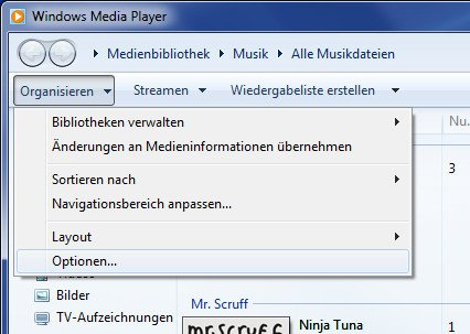 Windows Media Player Optionen