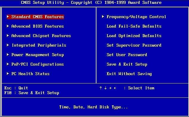 So sieht ein klassisches / altes BIOS aus.