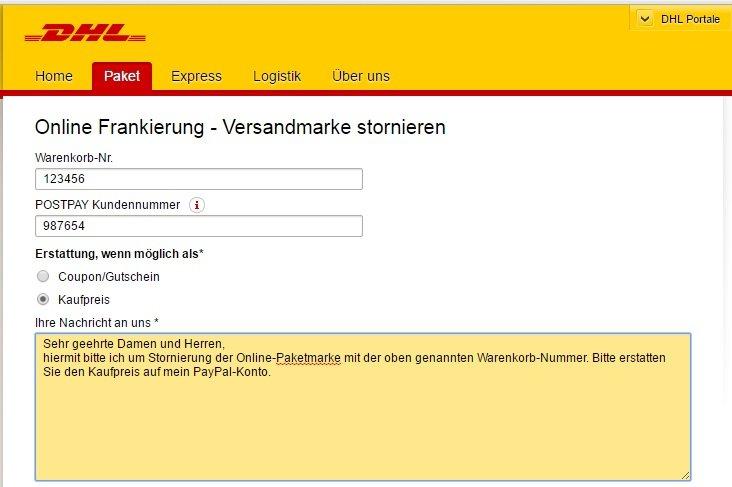 Dhl Online Frankierung Stornieren Per Mail Formular Oder