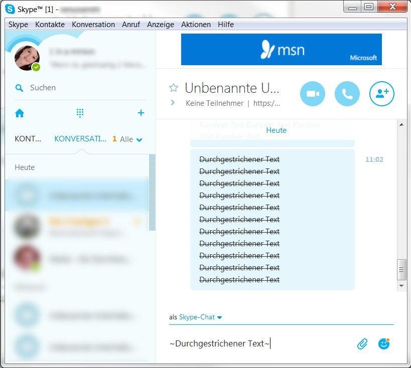 Skype Text durchgestrichen