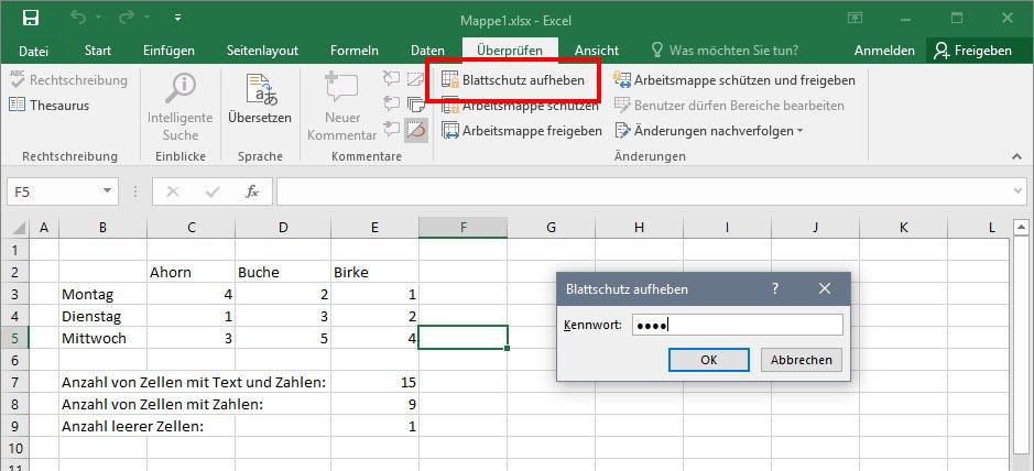 So entfernt ihr den Blattschutz einer Excel-Tabelle.